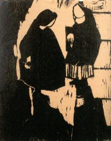 To koner, Træsnit 1952